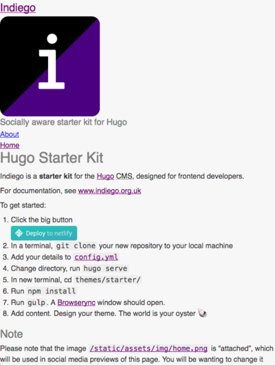 Screenshot of a page created with Indiego Hugo starter kit