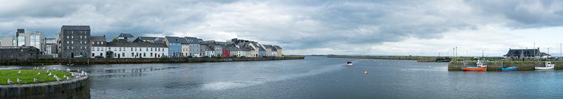 Panorama of the River Corrib as it meets the Atlantic Ocean, Galway, Ireland