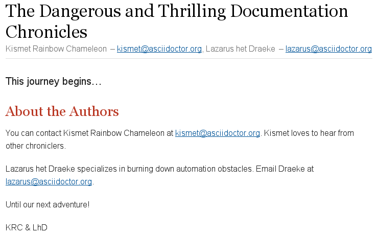 Multiple author and email attributes