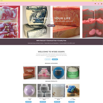 WordPress Web Design for N'Dee Soap Company <a href='https://www.ndeesoaps.com' target='_blank'>View Website</a>