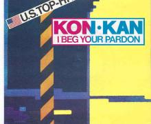Single cover for Kon Kan's 'I Beg Your Pardon', released in 1989.