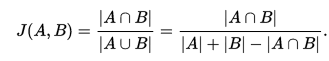 Equation describing Jaccard Coefficient