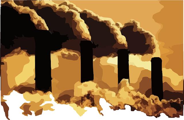 Factory chimneys billowing polution