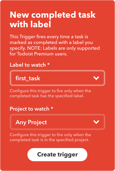 Trigger Based on Task Tag