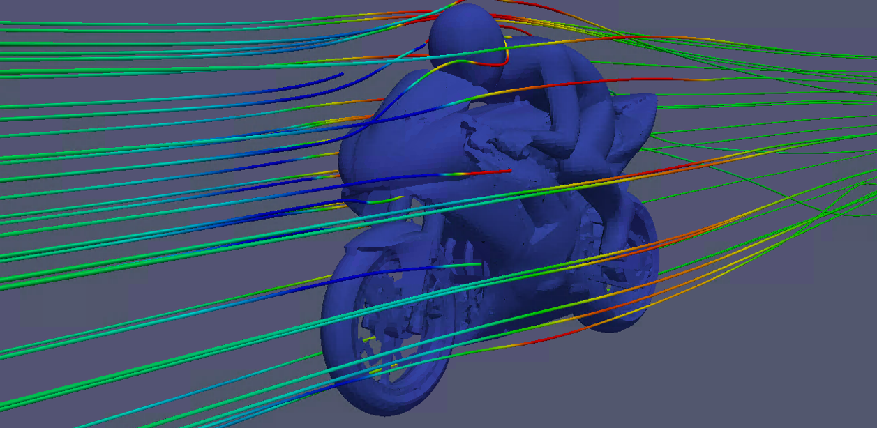 Streamlines colored with velocity magnitude