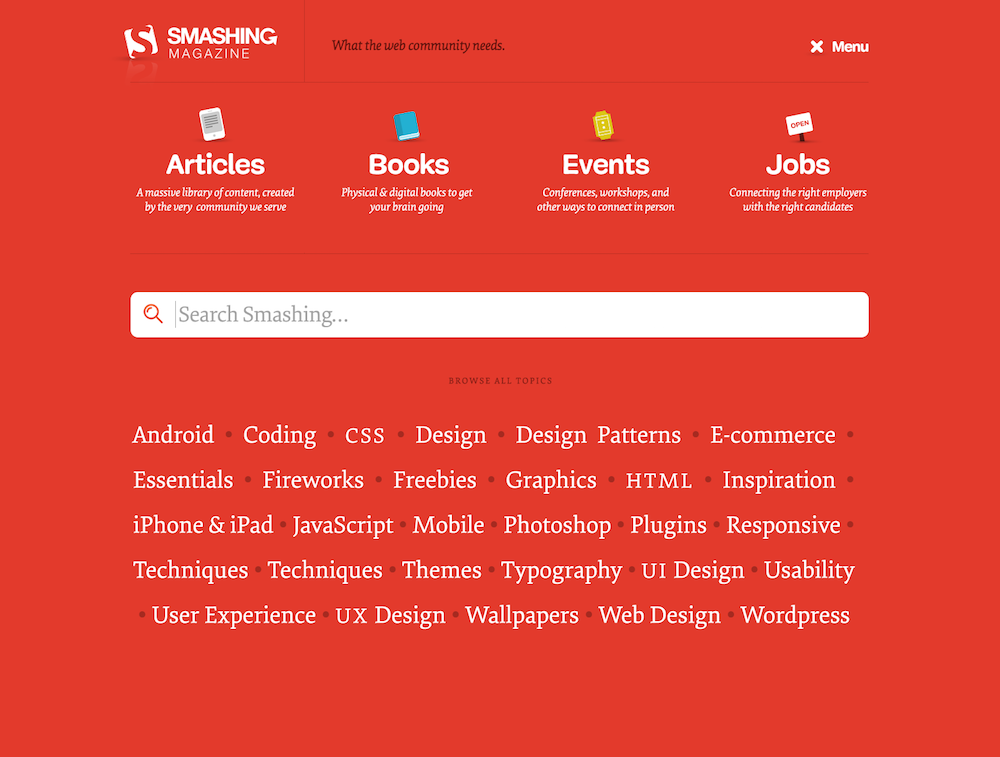 Screenshot of the initial Smashing Magazine navigation design