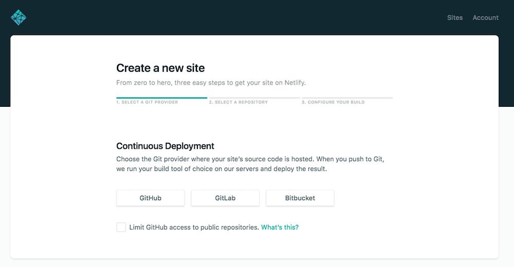 Gitサービス選択画面