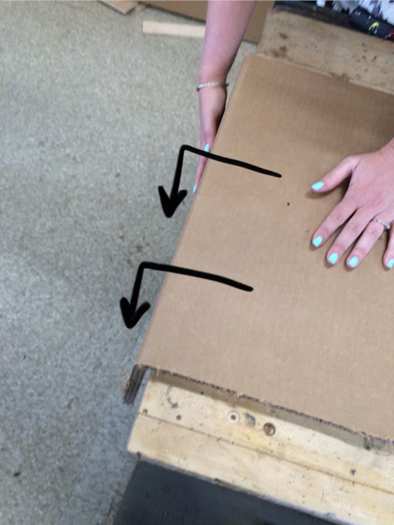 Lauren made a number of edits on photos to show her progress as she learned basic techniques, like scoring and folding in the right direction to maximize the strength of the cardboard's internal flute structure.
