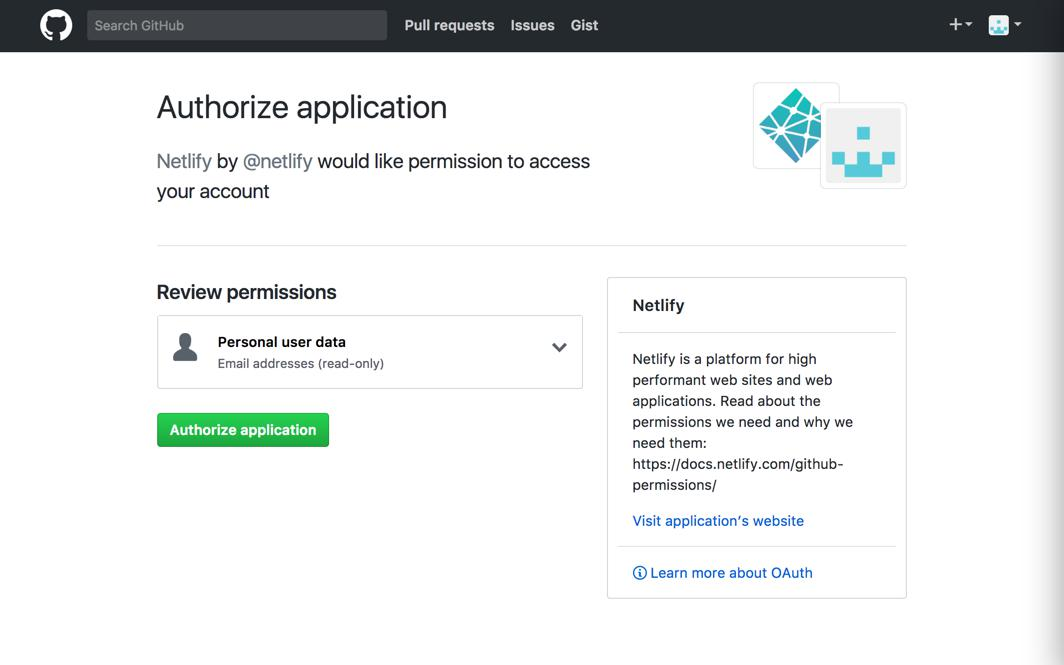 Screenshot of the authorization popup for Netlify and GitHub.