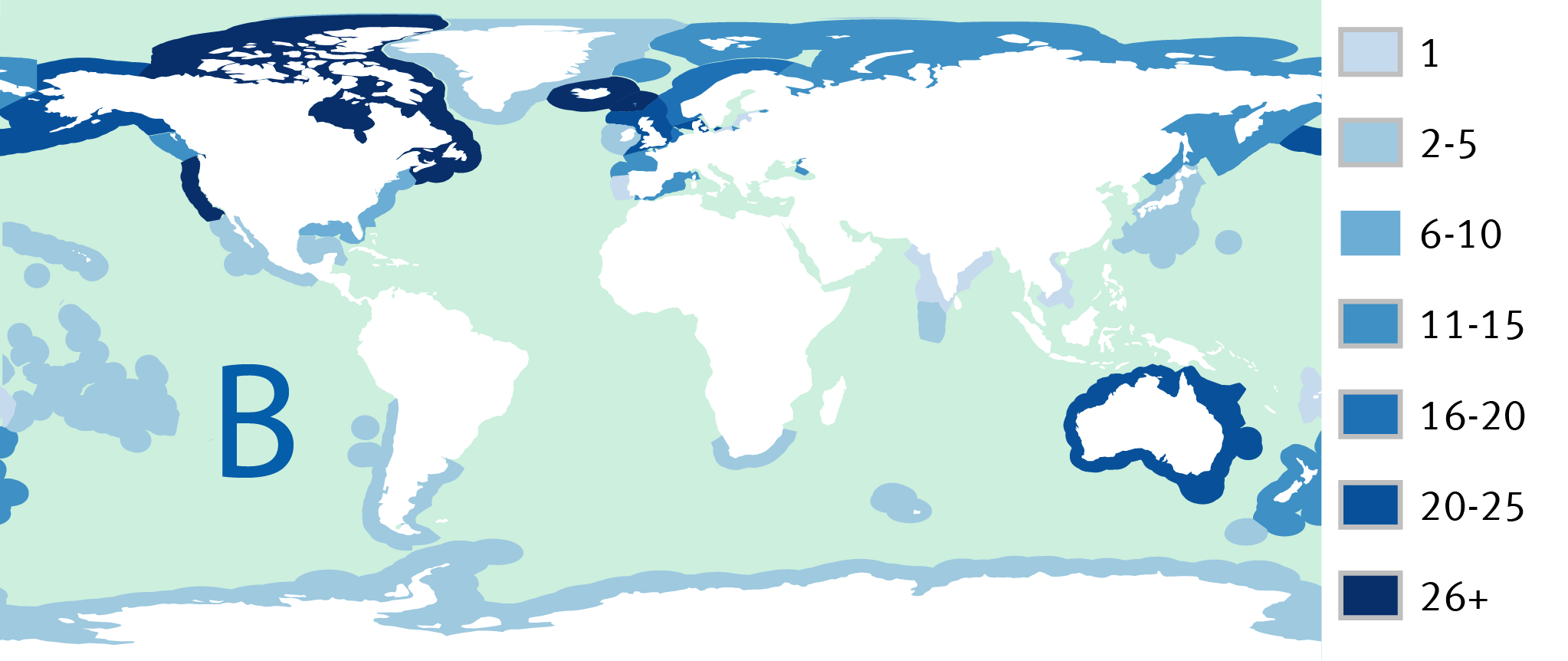 Map B: Number of certified fisheries in each country's EEZ in 2015 (EEZs not shown for countries with no certified fisheries)