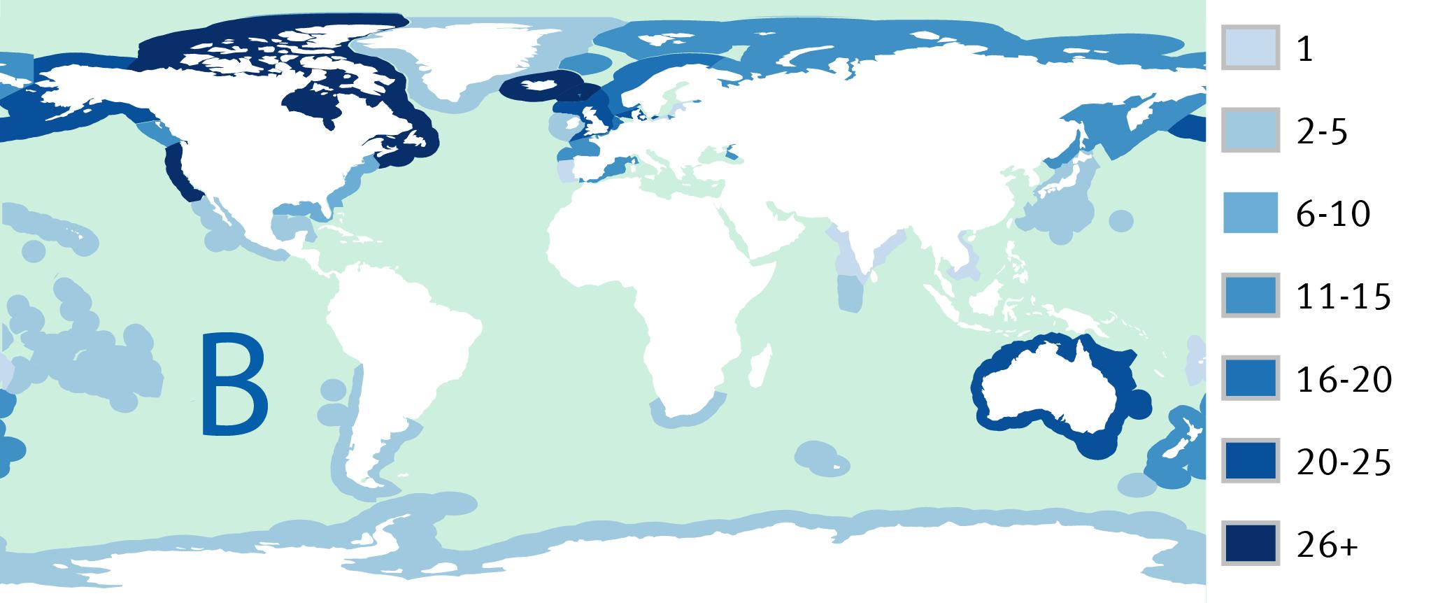 Kaart B: Aantal gecertificeerde visserijen in de EEZ's van elk land in 2015 (EEZ's enkel getoond bij landen met gecertificeerde visserijen)
