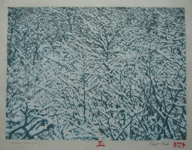 Snowy Thicket woodblock print
