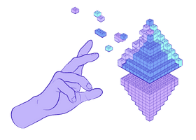 Illustration of a hand constructing an Ethereum glyph made of lego bricks