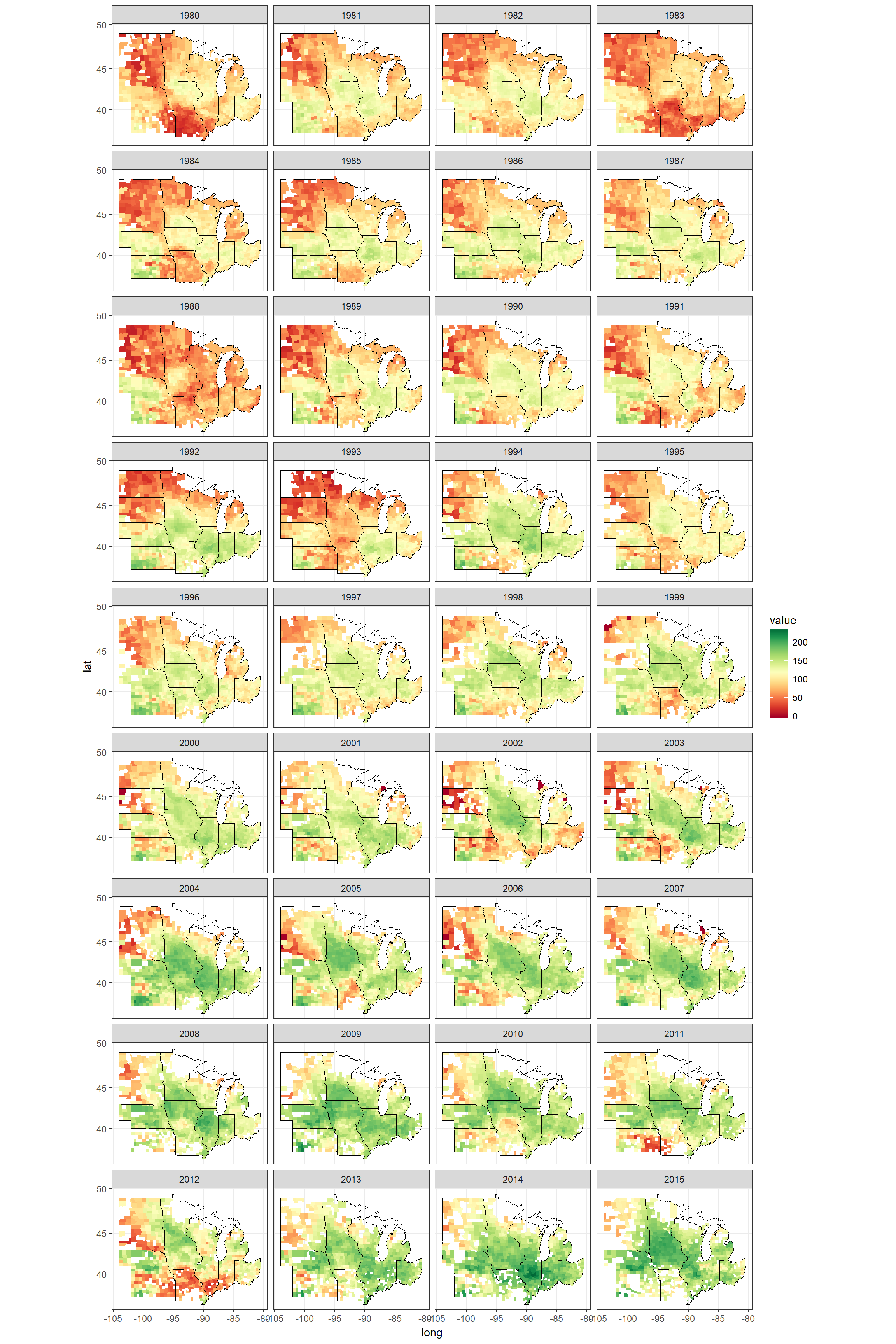 Corn yield of counties in the MidWest, between 1980 - 2015