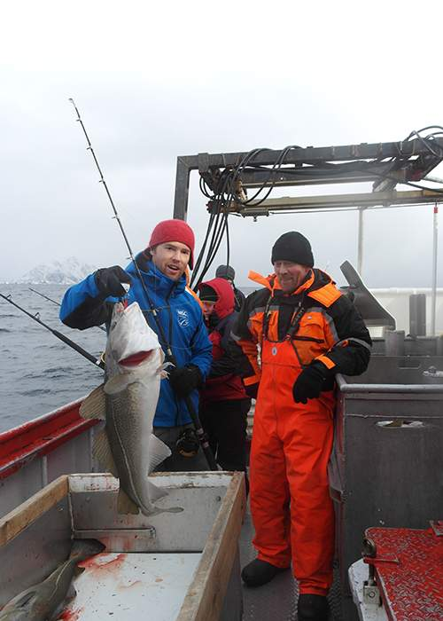 The MSC's Camiel Derichs and skipper Børge Iversen with a landed cod. © MSC