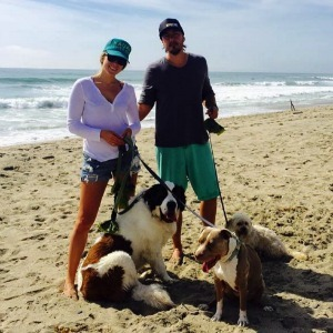 Colbie Caillat with her dogs at the beach