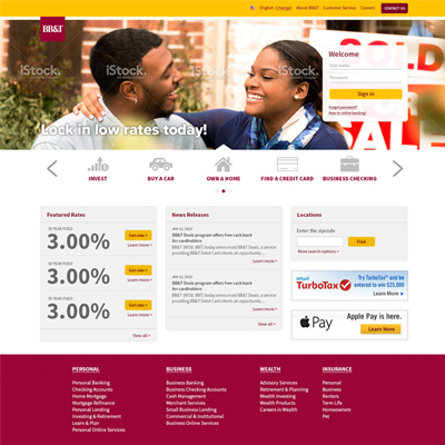 Bb&T Homepage Redesign