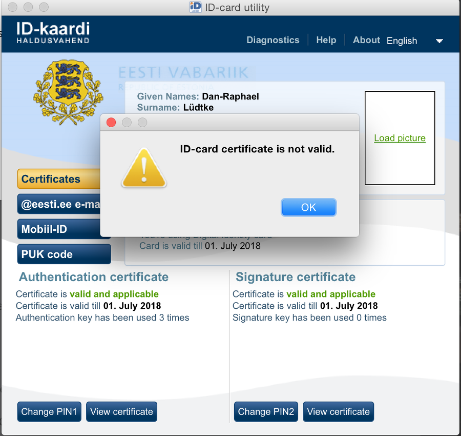 e-residency error certificate