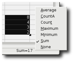 OpenOffice.org Calc's status bar summary function