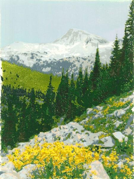 Eagle Cap Oregon woodblock print
