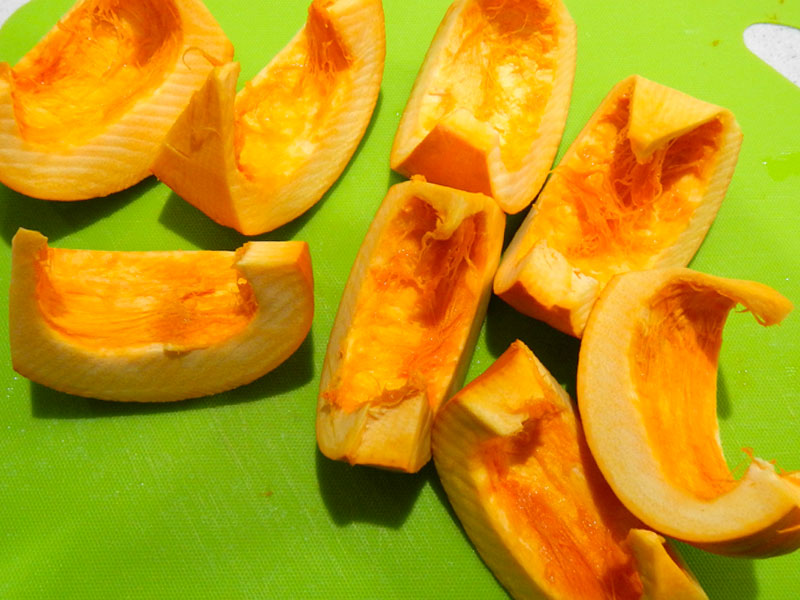 Pumpkin Wedges Before Steaming