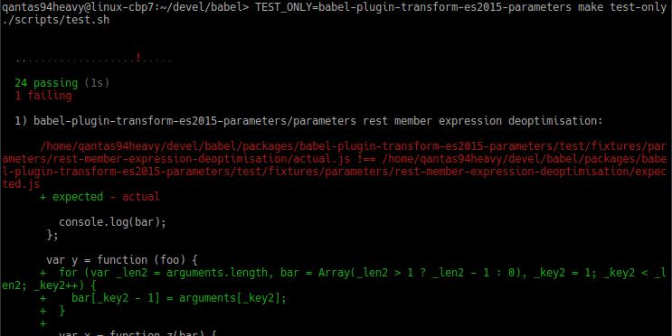 Test failure of modified code