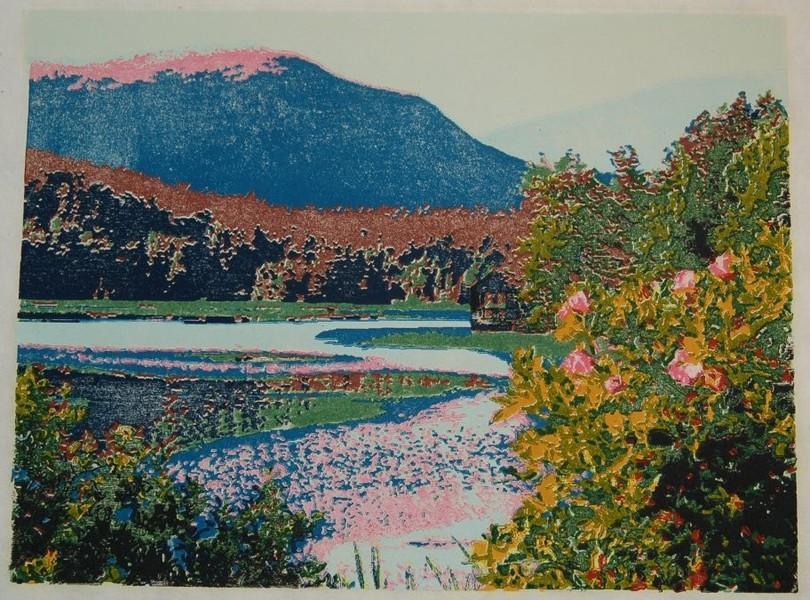 Little Long Pond woodblock print