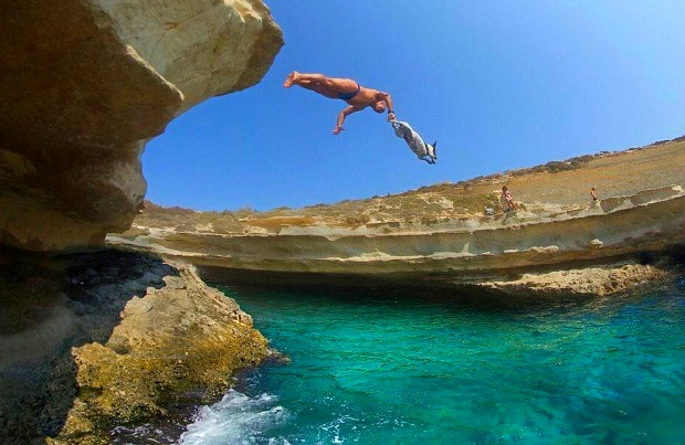 Carmelo and Titti diving in Malta.