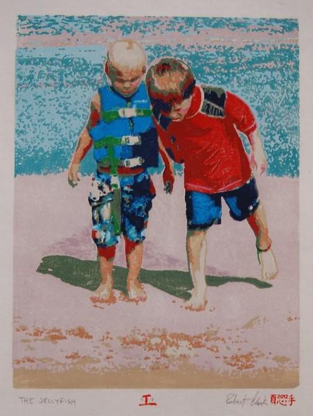 Jellyfish boys woodblock print