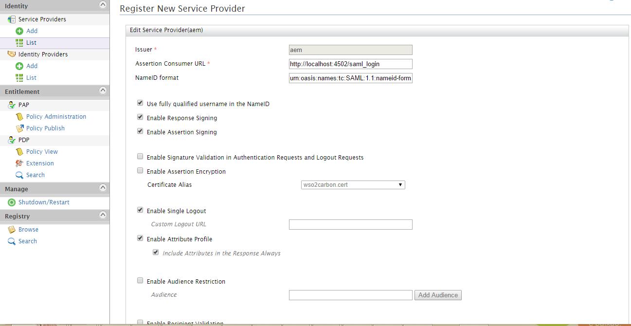 Service Provider Configuration