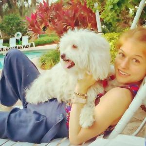 Actress Genevieve Angelson and Dog Jack Lemmon