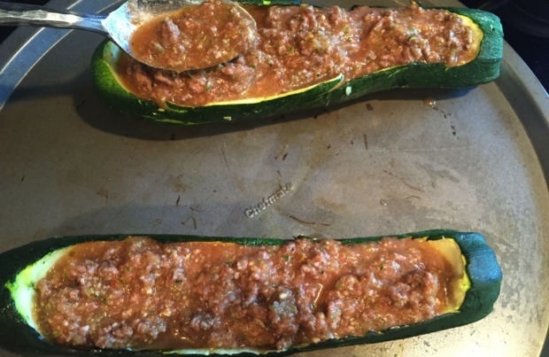 Fill zucchini with beef mixture