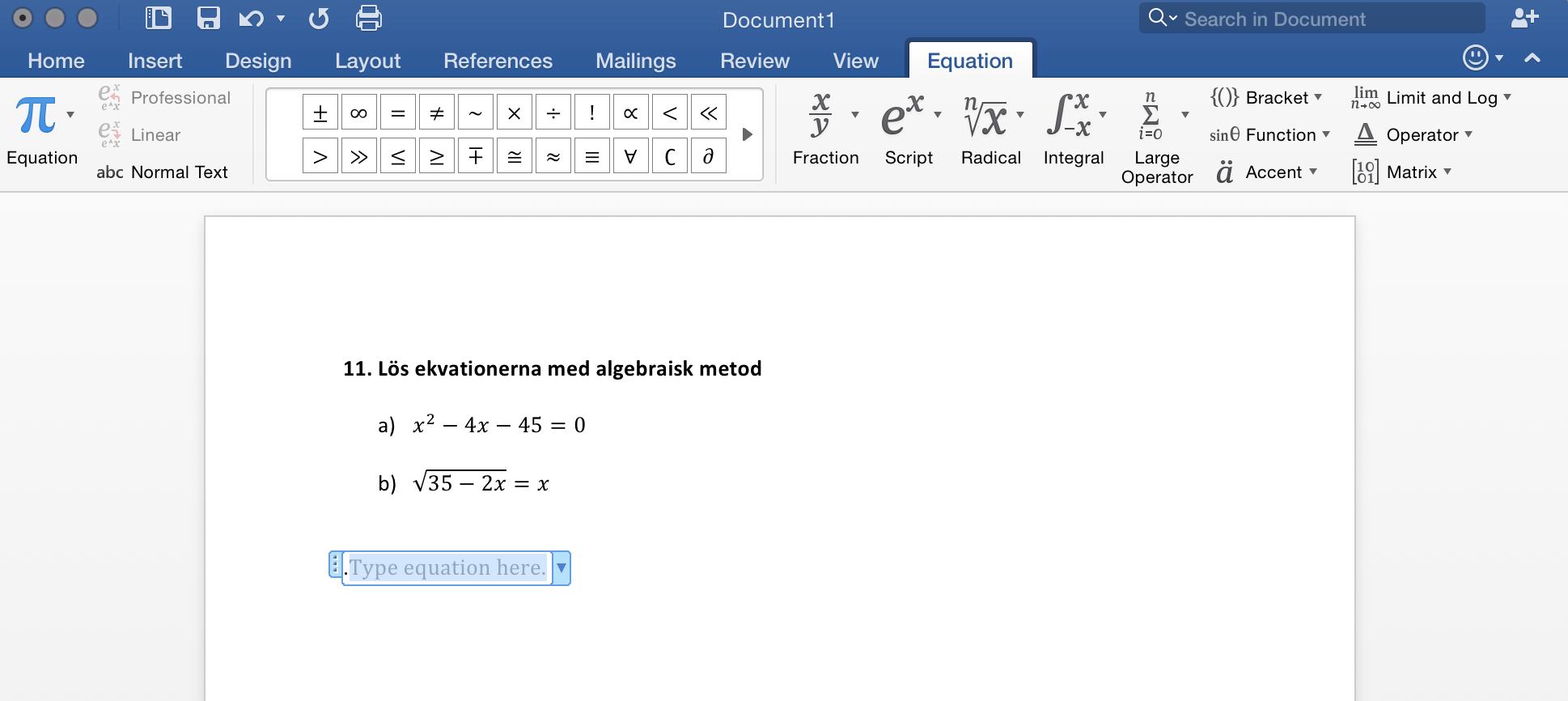 Ekvation i Microsoft Word