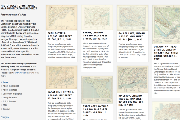 The Ontario Council of University Libraries Historical Topographic Maps Digitization Project