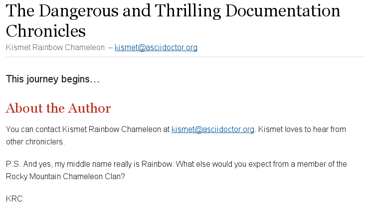 Author and email attributes