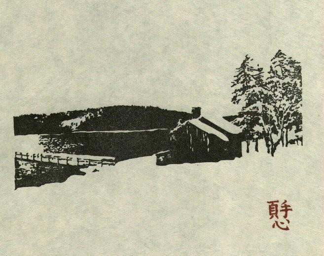 Cabin woodblock print