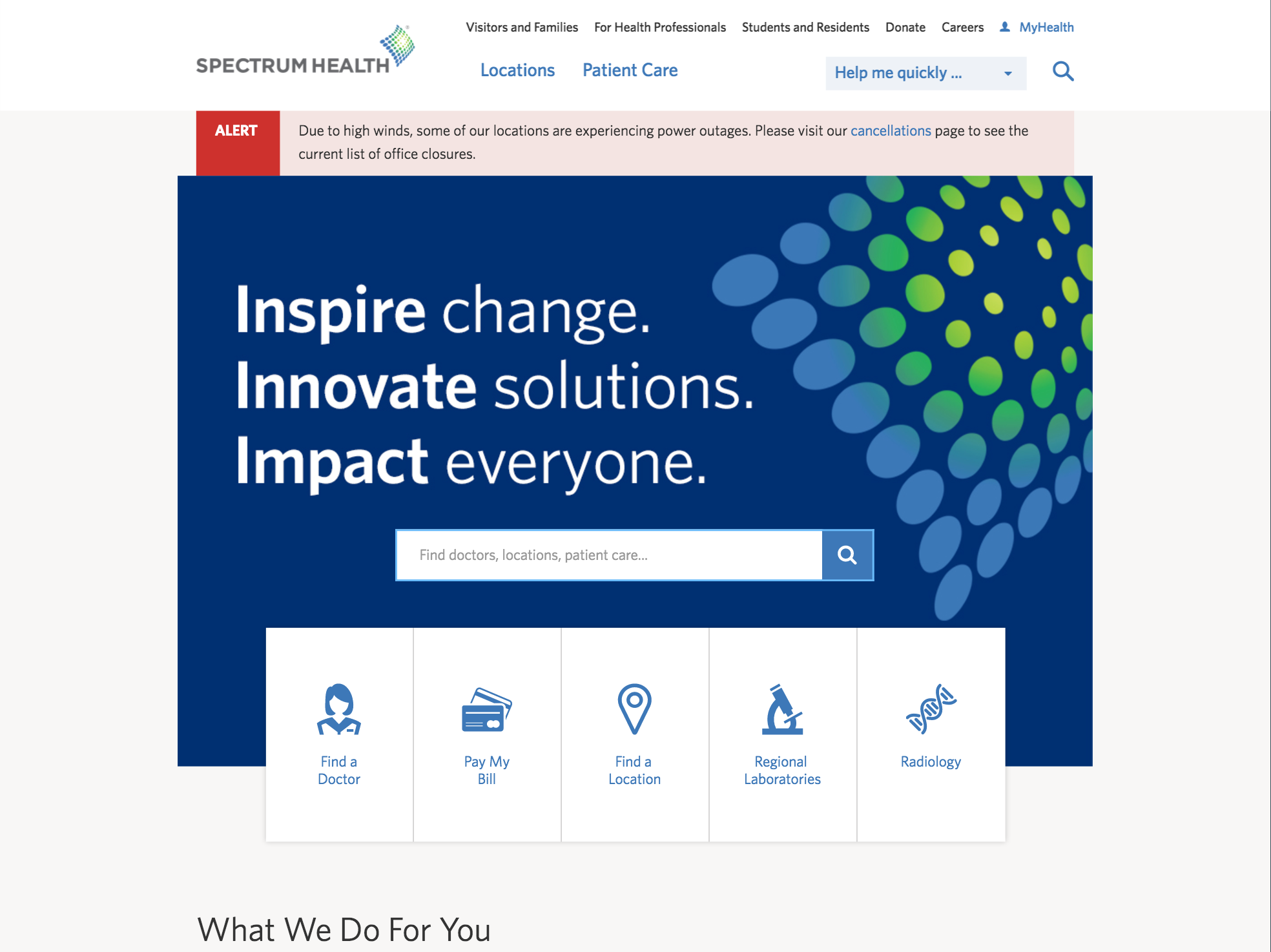 Spectrum Health home page
