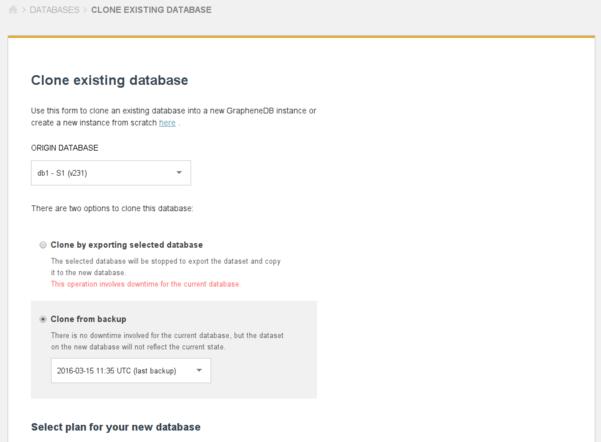 Clone existing database