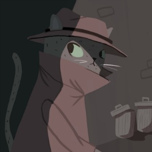 Illustration of cat detective