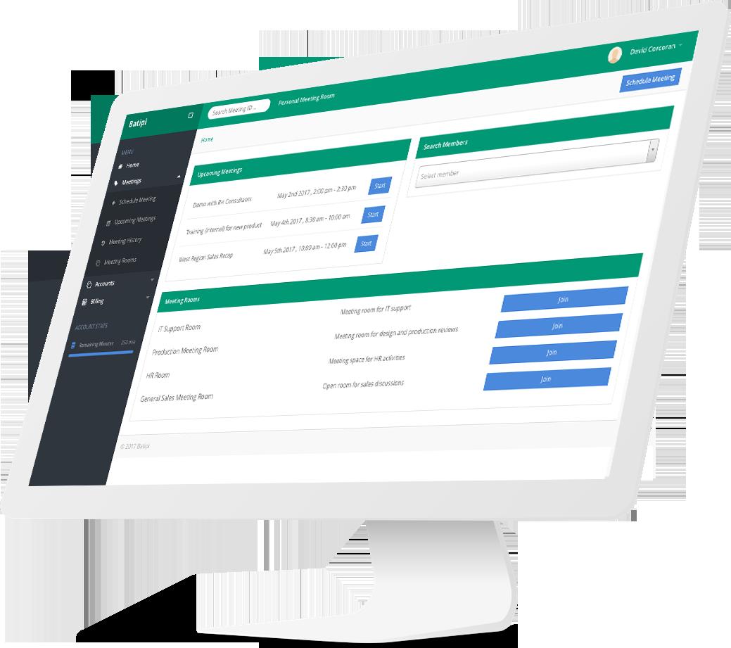 batipi video conferencing dashboard on imac