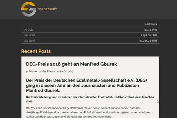 German language GOLD REPORT. Tips, tricks, news & glossary on coins, bullion bars and precious-metals investments.
