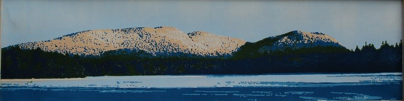 Western Moutain woodblock print