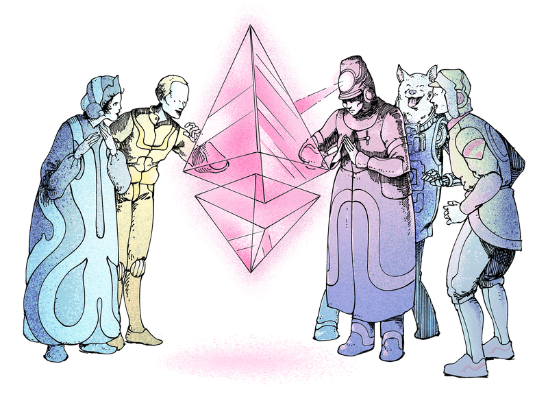 Illustration of a group of people marvelling at an Ether (ETH) glyph in awe