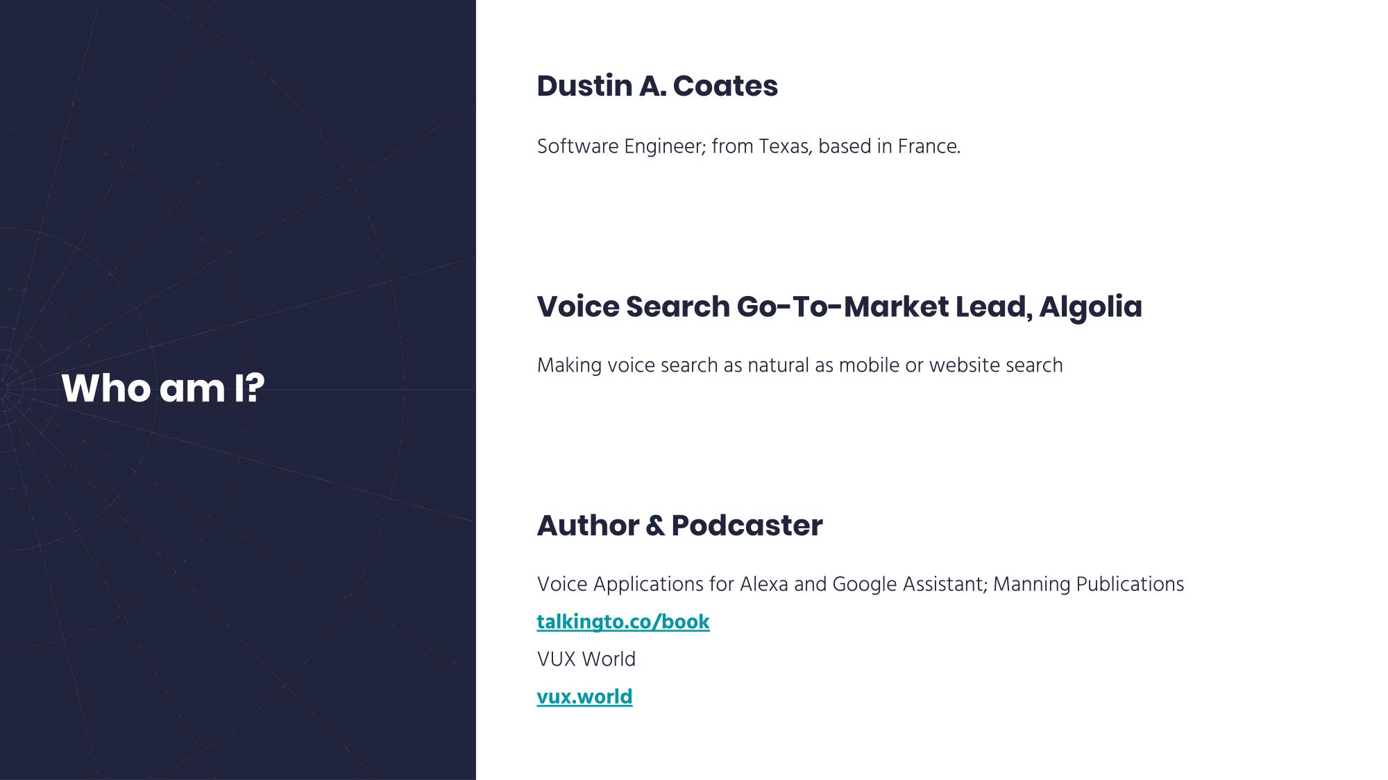 Dustin Coates, Voice Search at Algolia
