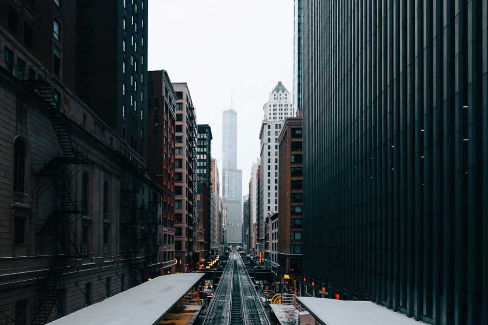 View of Trump Tower in Chicago above train tracks