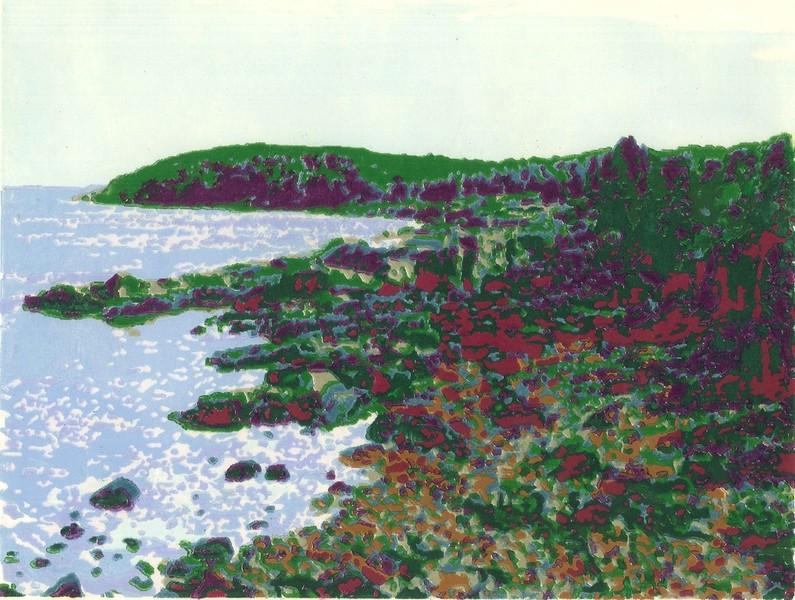 Otter Cliffs woodblock print