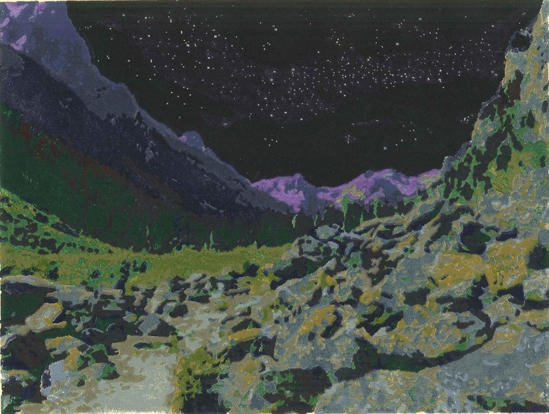Cascade Canyon woodblock print