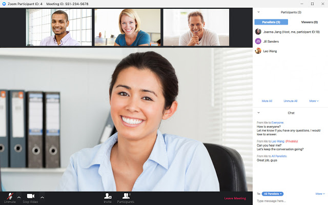 zoom video conference with participant chat open