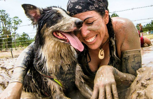 Roxie and Desire participate in a muddy race
