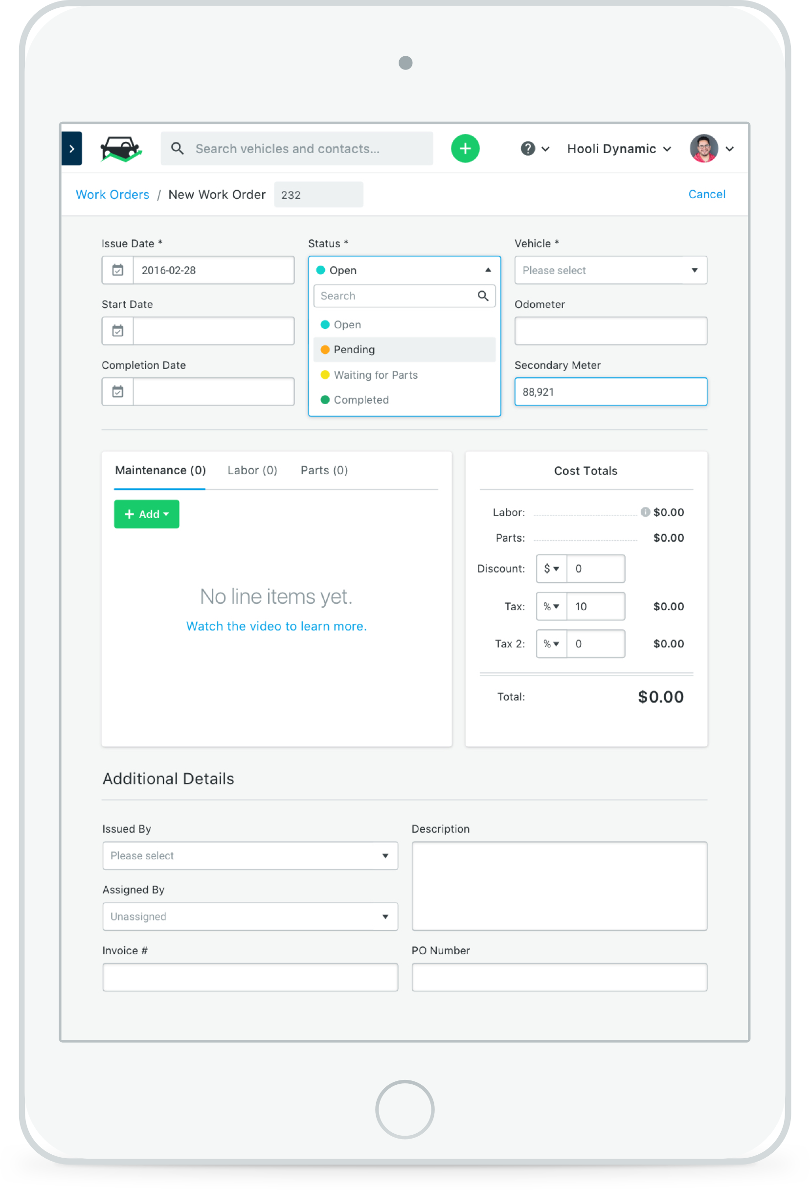Work order ipad2x